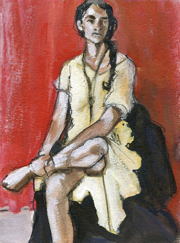 A Figure A Week 'Figure in Yellow Dress on Red'