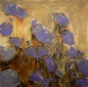 gestural blue poppies painting by denise souza finney