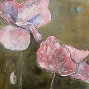 Lavendar Pink Poppies by Denise Souza Finney