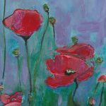 Red Poppies on Lavender Blue by Denise Souza Finney