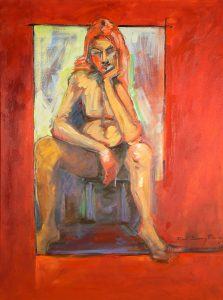abstract painting of female nude on red by denise souza finney