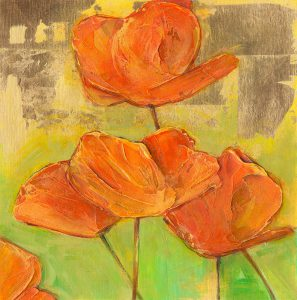 bright orange california poppy acrylic paintings by denise souza finney