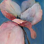 acrylic painting of pink poppy on blue