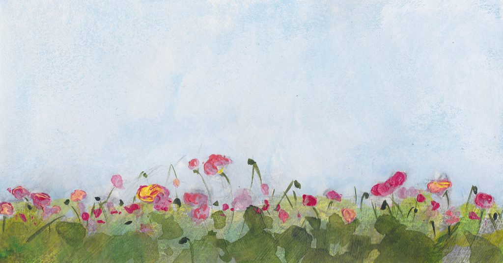 painting of gestural springtime poppy field