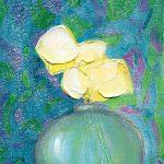 Blue Vase On Textiles by Denise Souza Finney