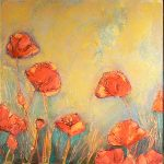Summer Poppies triptych painting by Denise Souza Finney
