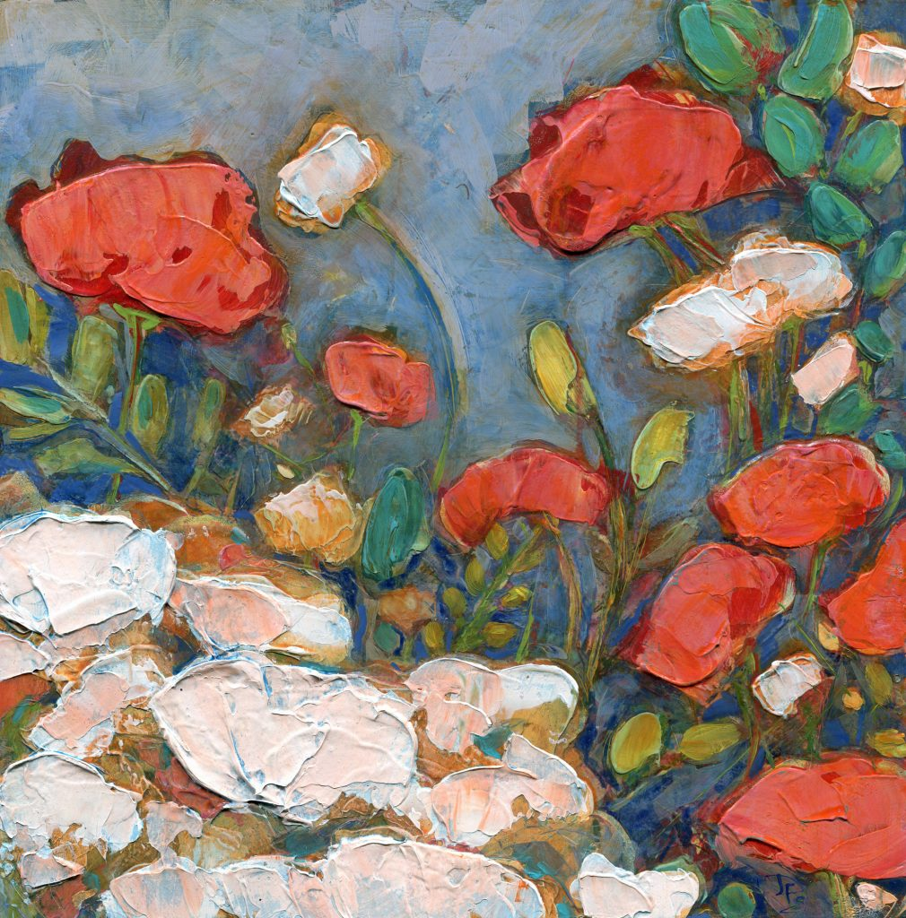 Poppies In A Springtime Garden acrylic painting by Denise Souza Finney