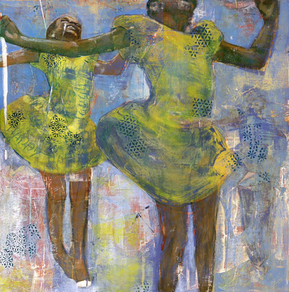 image of y painting titled jump for joy by artist denise souza finney